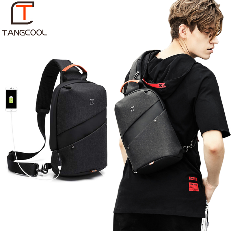 Tangcool Fashion Men Messenger Bag Men USB Charging Design Man Chest Bag Pack Anti Theft Shoulder Crossbody bags for TeenageTangcool Fashion Men Messenger Bag Men USB Charging Design Man Chest Bag Pack Anti Theft Shoulder Crossbody bags for Teenage