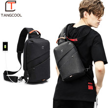 Tangcool Fashion Men Messenger Bag Men USB Charging Design Man Chest Bag Pack Anti Theft Shoulder Crossbody bags for Teenage(China)