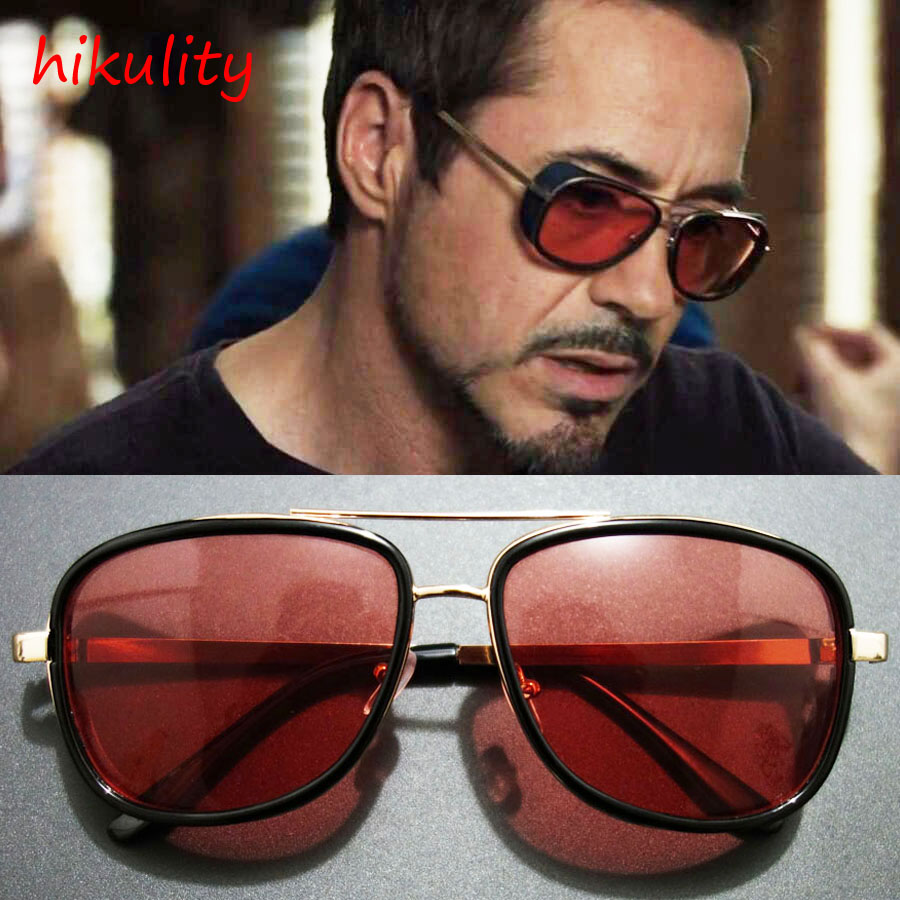 Iron Man 3 Tony Stark Sunglasses for Men Super Soldier Gothic Glasses Male Steampunk Goggles Sun Glasses Red Sunglasses Men 2018