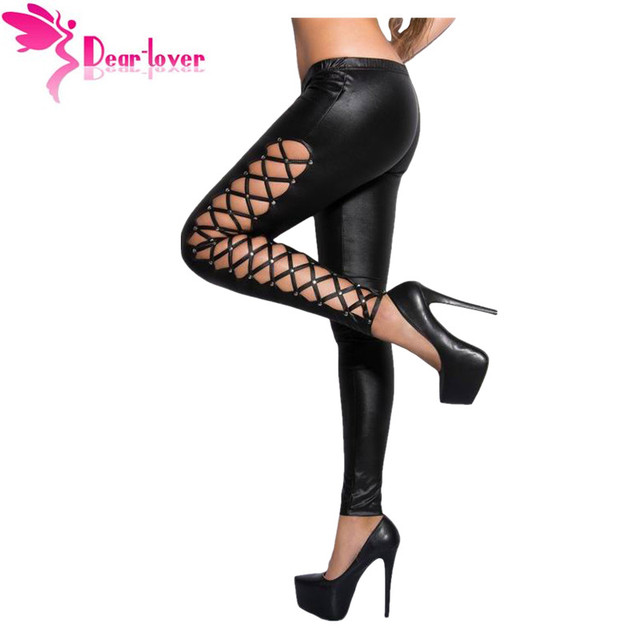 Dear Lover sexy clubwear trousers Stylish Leather Leggings Lacing Sides Red Wet Look Fitness Jegging Legging Pants Women LC79879
