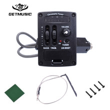 2 Band LED Ukulele EQ Equalizer with Chromatic Tuner Hard Bridge Pickup Piezo UK-300T Ukulele Pickup Preamp Drop Shipping(China)