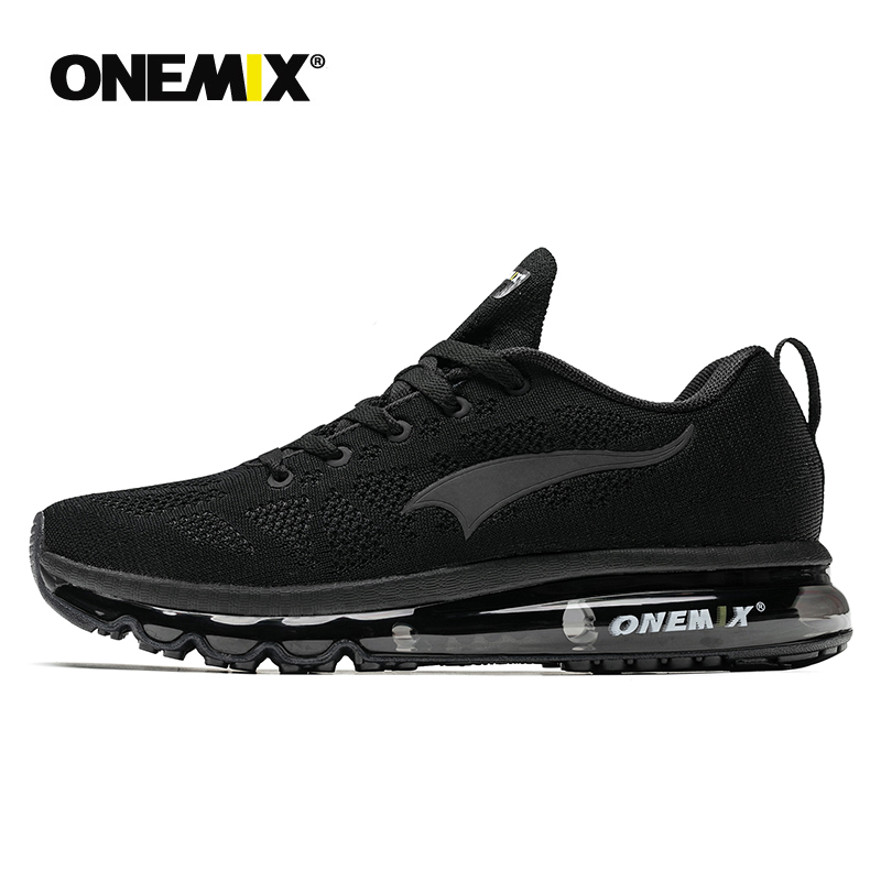 ONEMIX Trail Trainers Men Air Cushion Sneaker Classic Black Running Shoes Breathable Mesh Upper Walking Shoes Sneakers