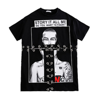 Loose Long T Shirt Women Black Cartoon Patchwork Ulzzang Harajuku Punk Oversized T Shirt Streetwear Hip Hop Women Tshirt 50H0274