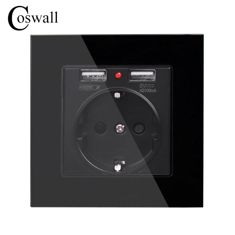 Coswall cristal Panel Dual USB puerto de carga 2.1A adaptador de cargador de pared indicador LED 16A EU toma de corriente negro Color