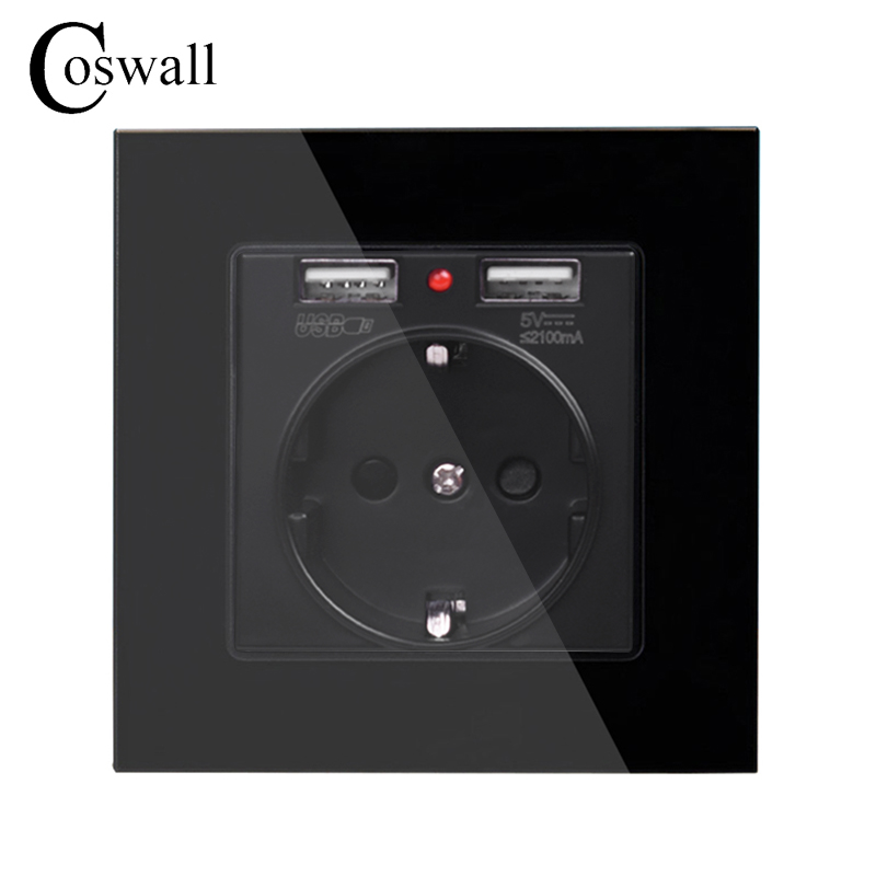 coswall-crystal-glass-panel-dual-usb-charge-port-21a-wall-charger-adapter-led-indicator-16a-eu-socket-power-outlet-black-color
