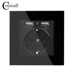 Coswall Crystal Glass Panel Dual USB Charge Port 2.1A Wall Charger Adapter LED Indicator 16A EU Socket Power Outlet Black Color