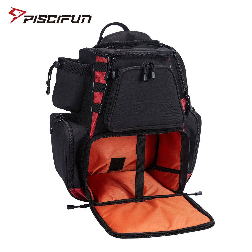 Piscifun Fishing Bag Fishing Tackle Backpack Waterproof Tackle Bag Trays Storage Bag Outdoor Hiking Camping (no tackle boxes)