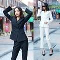Otoño Delgado Sra. nuevo traje traje de moda de manga larga traje de chaqueta de manga larga pantalones two-piece-do870