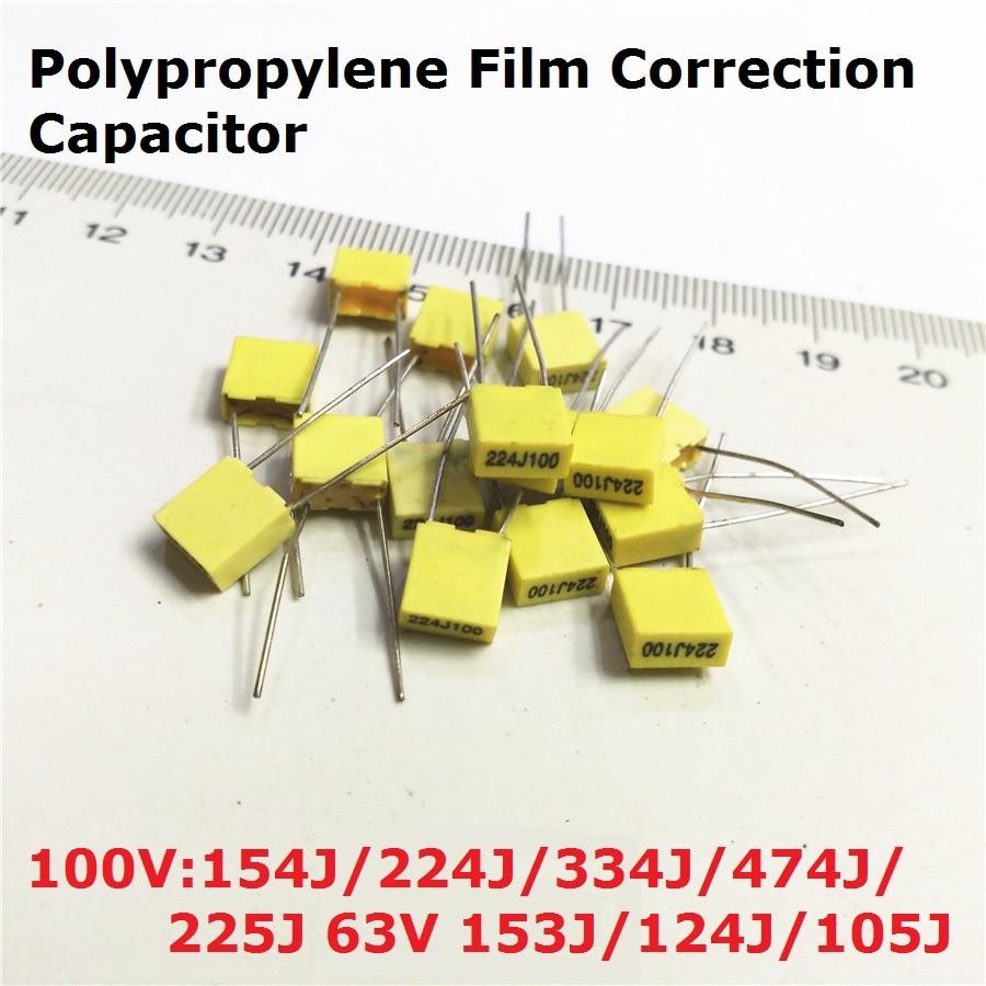 20PCS Polypropylene Film Capacitor 100V 154J100 224J100 334J100 474J100 225J100 63V 153J/124J/105J 0.15/0.22/0.33/0.47/1UF/15NF