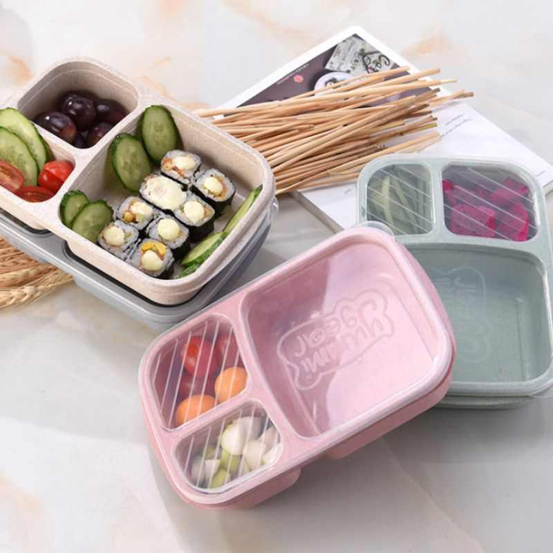 Biodegradable Storage Container Lunch For Picnic Wheat Straw Box 3 Grid With Lid Environmentally friendly Microwave Food Box SZ