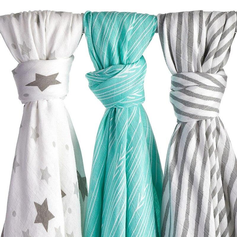 Baby Bamboo Muslin Swaddle Blanket Nautical Design Infant Muslin Best Organic Cotton Bedding Newborn Bath Towel Sleeping Blanket