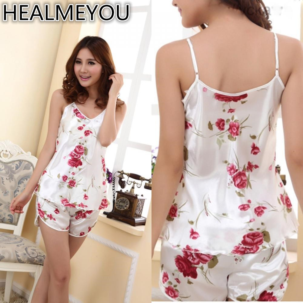 Women Sexy Pajamas Silk Lace Floral Sleeveless Sling top + Shorts summer pajamas Set