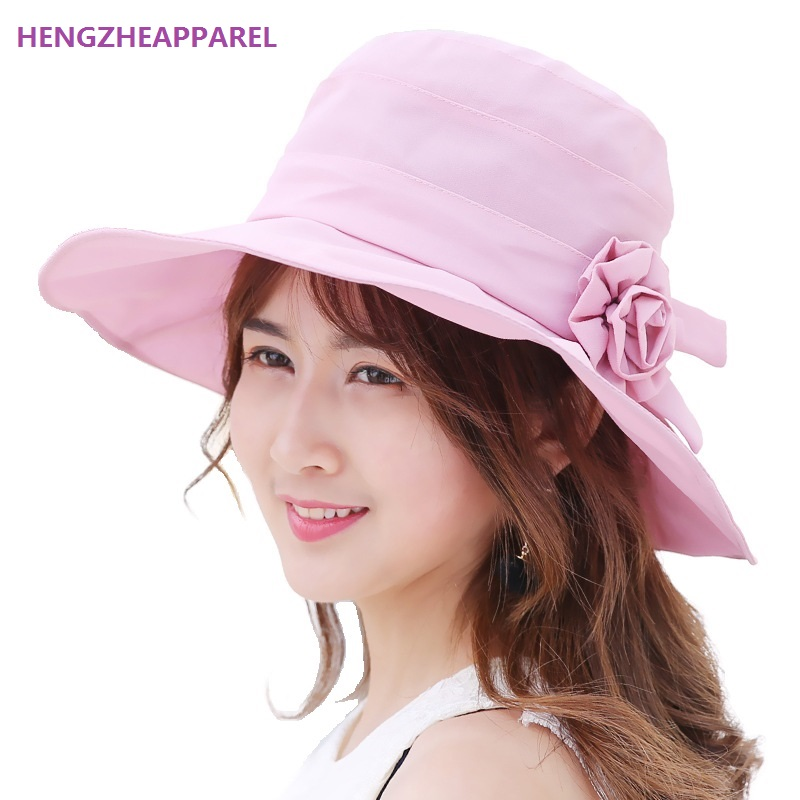 8e871218157 Women Sun Hat Fashion Flower Summer Beach Hats Anti-UV Sun Protection holiday  seaside Bucket Hat Cap For Girl Sunhat