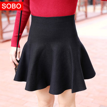 2017 Spring and Autumn New Arrival Women High waisted Slim A-line Short Mini Skirt, Female Sweet Stretch Knitted Pleated Skirts