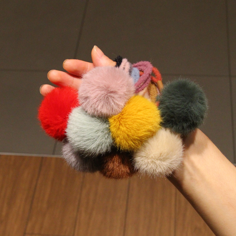 Baby Kids Cute Hair Accessories   Headwear   Mini Mink Ball Rubber Headbands Girls Children Solid Color Pompon Gum Elastic Hair Band
