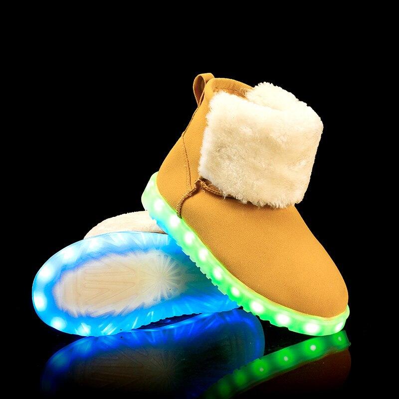 ФОТО 2017Winter light up Snow Boots Women Led Lights Shoes Ankle Flat Luminous Fluorescent High Top Cotton Growing Botas ugs women
