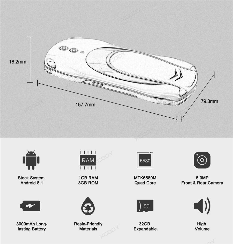 XGODY X25 Android 8.1 1GB RAM 8GB ROM
