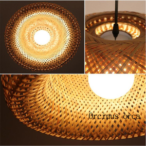 Image 3 - Lámpara candelabro Antigua China de mimbre, nido de bambú, lámparas LED, linternas para sala de estar, hotel y restaurante