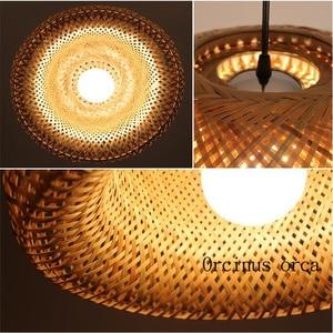 Image 3 - קש במבוק קן קן סיני עתיק נברשת מנורת LED מנורות פנסי סלון מלון מסעדה