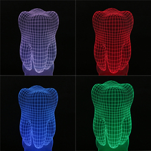 Creative 3D Illusion Lamp LED Night Lights Tooth Shape 3D Discoloration Colorful Atmosphere Decoration Lamp Christmas Gift