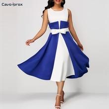 Women Color Block O-neck Bow Design A-Line Dress Office Lady Sleeveless Mid-Calf Elegant Vestidos Night Club Dress