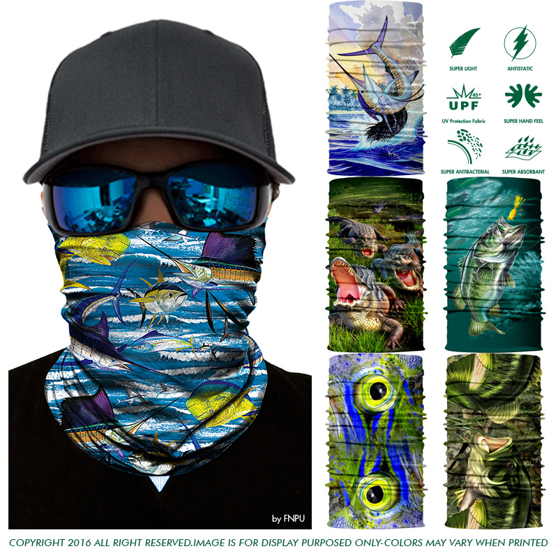 Drop Shipping 3D Seamless Bandana High Grade Quick-dry Fish Bandana Cycling Magic Scarf UV-Protection Fishing Headwear Headband