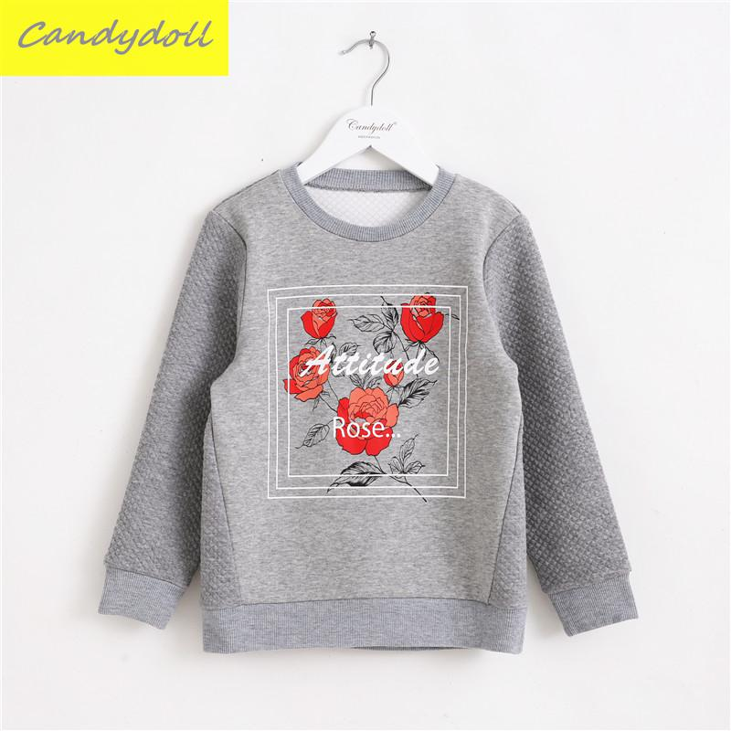 New arrival Long Sleeved T-shirt Kids Girls Coat Spring/Autumn Children Cotton Flower Printed T-shirts 5-10Y