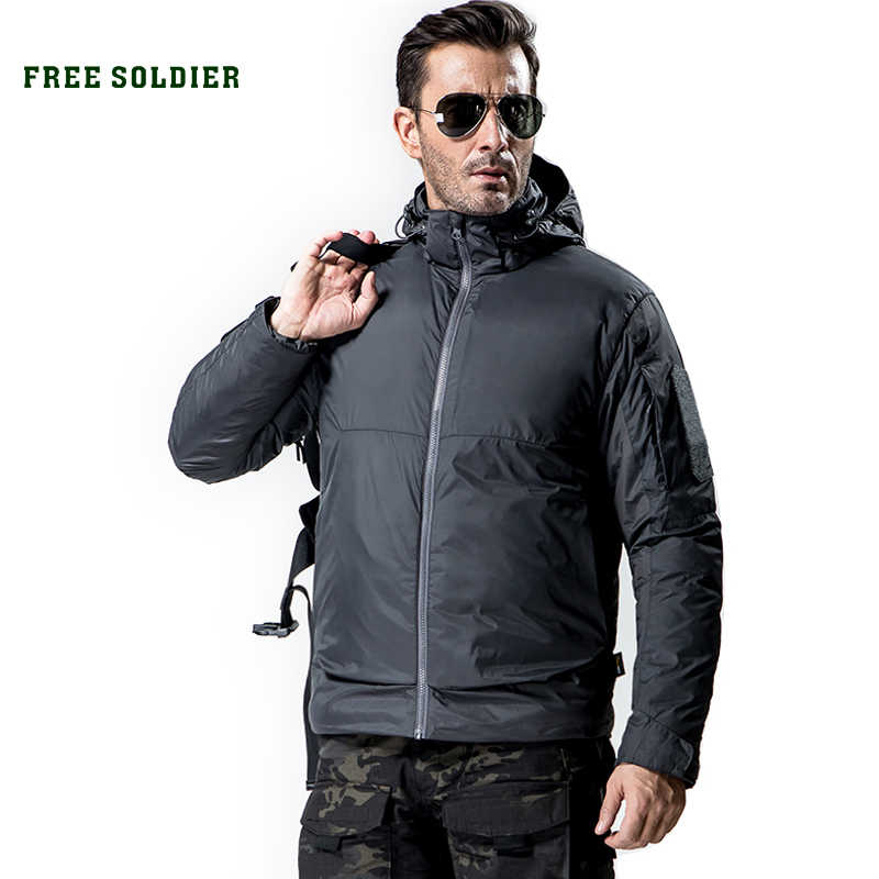 FREE SOLDIER Goose Down Jacket For Men Winter Camping Hiking Outdoor Sports Warm Coat Hooded Jacket 80% White Goose Down