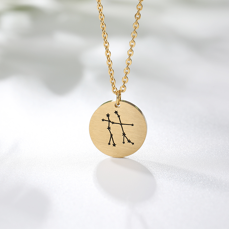 Fashion Personalized Twelve Constellations Carved Coin Necklace Statement Aquarius Pendant Women Jewelry