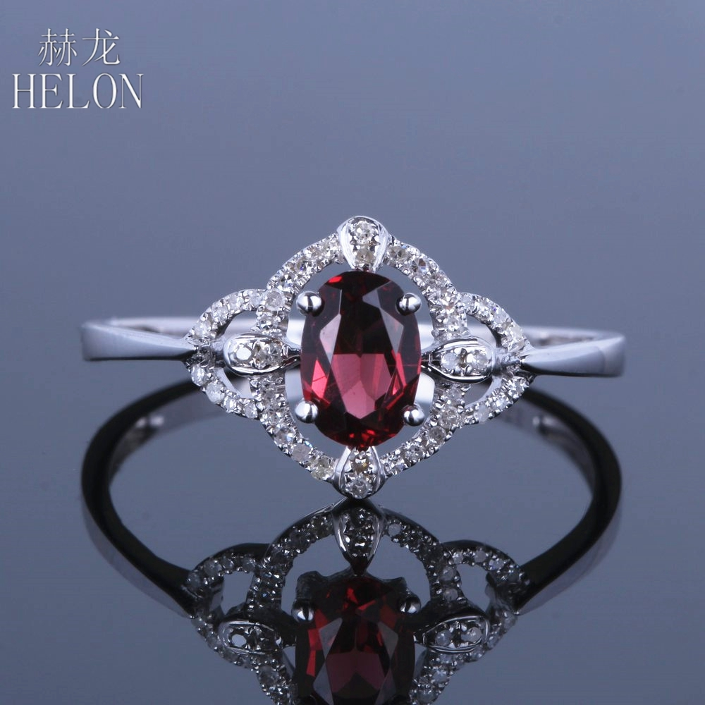 HELON Solid 14K (585) White Gold Flawless Oval 4x6mm Garnet Pave Real Natural Diamonds Gemstone Wedding Trendy Fine Jewelry Ring