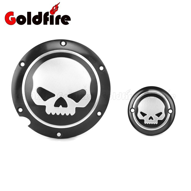 One Pair Black CNC Aluminum Skull Motorcycle Derby Timing Timer Cover For Harley XL 883 XL 1200 Sportster black cnc derby timing timer cover for harley sportster xl883 xl1200 2004 05 06 07 08 09 2010 2011 2014 motorcycle accessories
