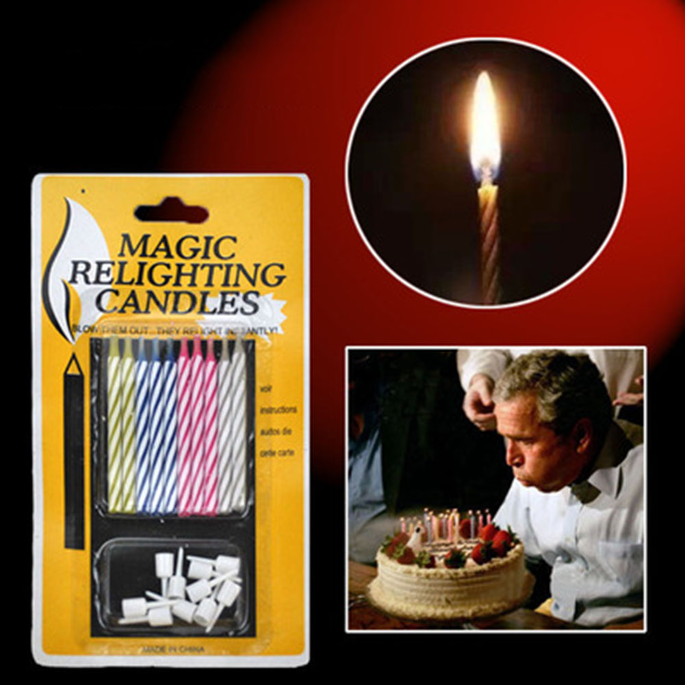 10 Magic Relighting Birthday Cake Candles Fun Joke