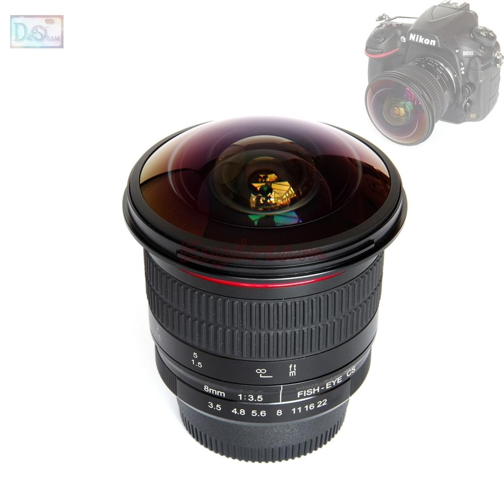 8mm 8mm F3.5 Manuel Ultra HD Fisheye Lentille pour Nikon DSLR Caméra D5500 D5300 D5200 D3200 D3100 D3000 d7100 D7000 D90 Fish Eye