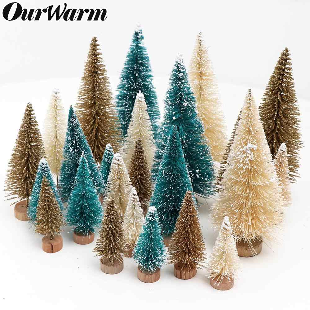 OurWarm 8Pcs Sisal Fiber Mini Christmas Tree 3Colors Snow Frost Small Pine Tree DIY Craft Desktop Decoration Christmas Ornaments