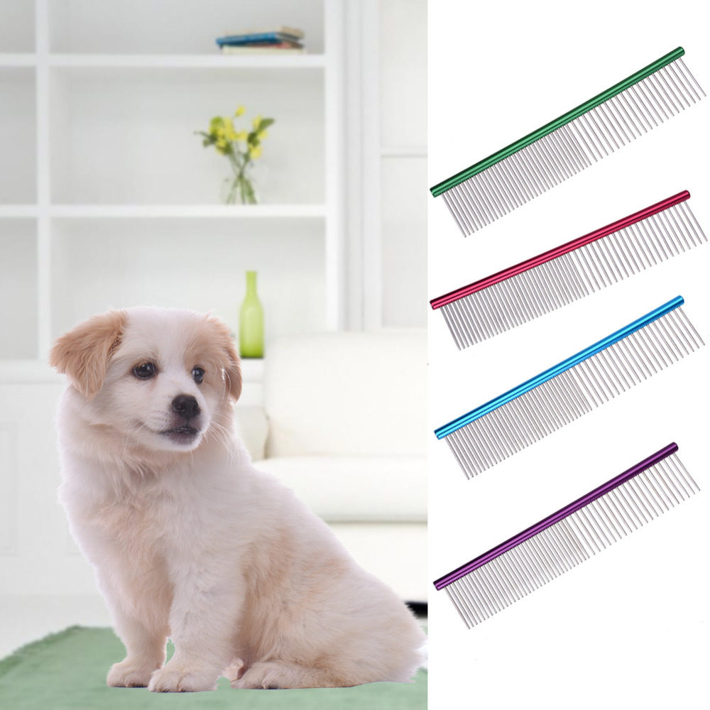Pet Dog Comb Professional Steel Hair Trimmer Comb Stainless Steel Stripe Grooming Comb Shedding Hair Cleaning Grooming Tool