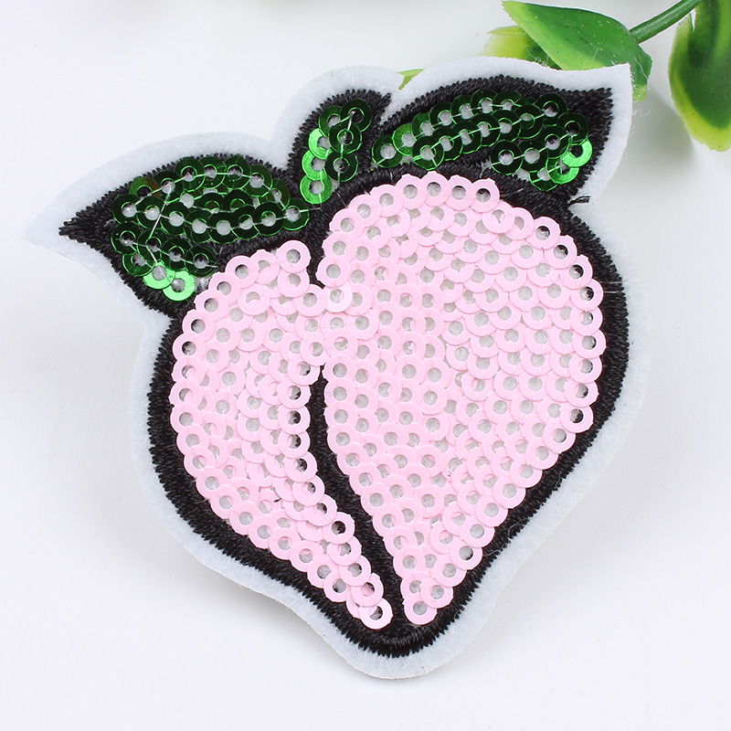 Pink Peach Iron On Applique Embroidered Patch Fabric Craft Sew Lot