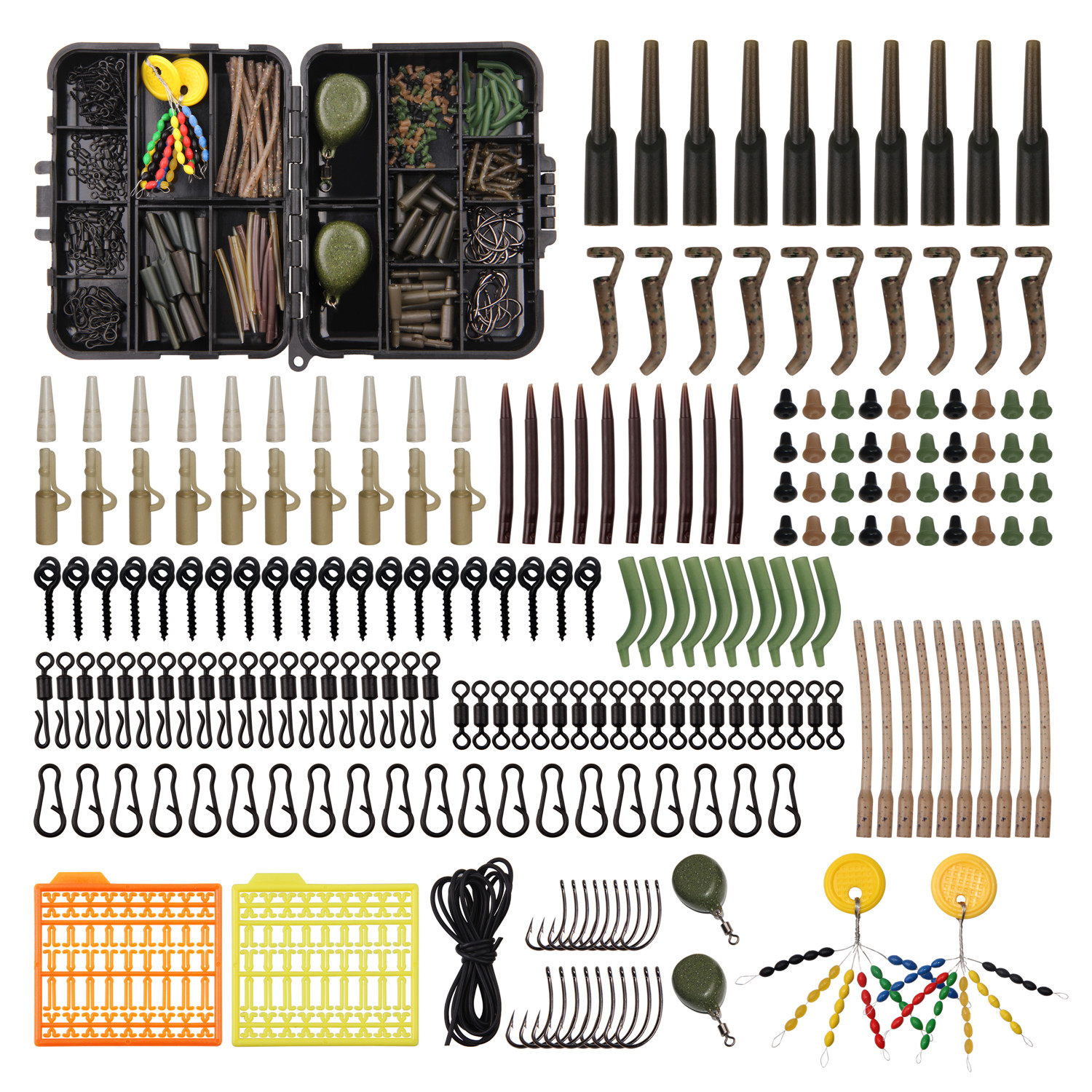 217pcs/box Carp Fishing Tackle Box Anti Tangle Sleeve Line Aligner Bait Screw Stoper Carp Hook Carp Lead Sinker For Carp Bait