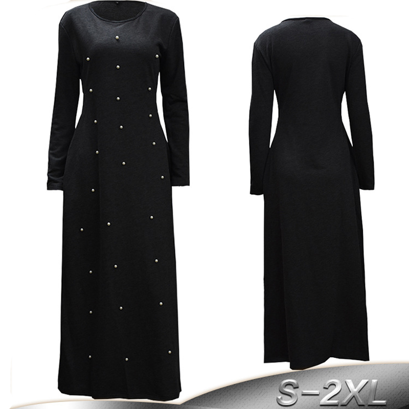 Vestidos 2019 Qatar Uae Abaya Dubai Kaftan Turkey Women Pearls Hijab Muslim Dress Robe Arabic Elbise