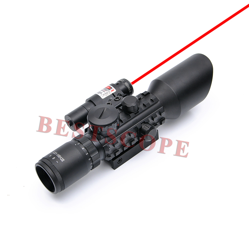 Фотография New 3-10X42 E M9 C Mil-Dot Hunting Shooting Riflescope Laser Red Scope Night Riflescope For Airsoft Air Gun Rifle Scope