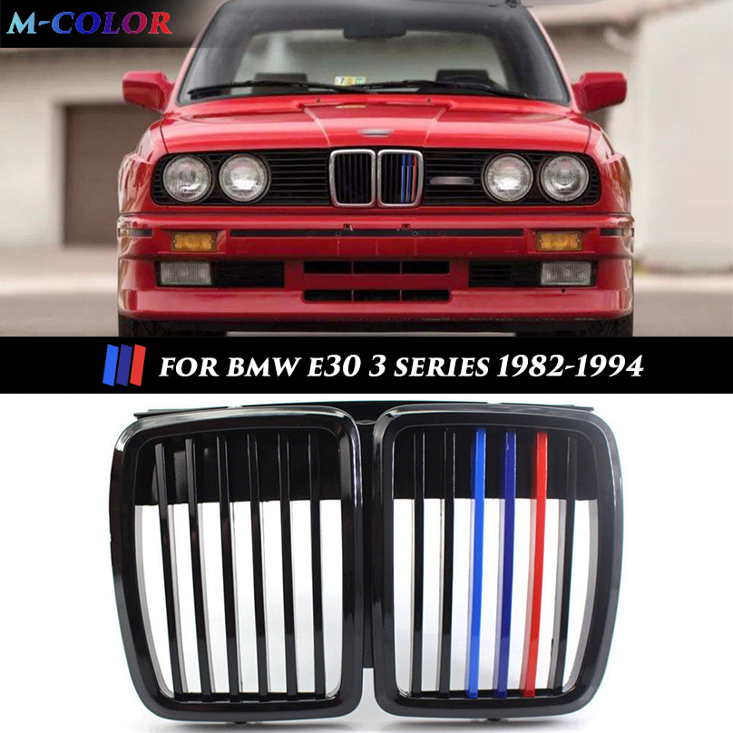 Car Front Kidney M Color Grille for BMW 3 Series E30 1982 1994 Car Front Bumper