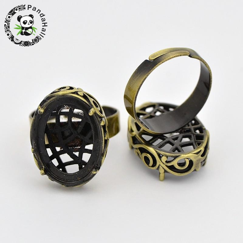 15pcs Vintage Adjustable Brass Filigree Ring Setting Components, with Oval Cabochon Bezel Settings, Nickel Free, Antique Bronze,