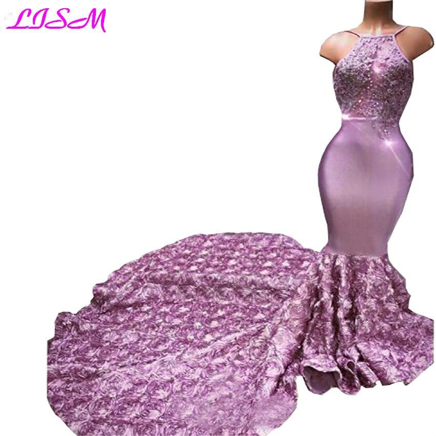 Cascading Ruffles longo rosa festa Halter Sexy Back Rose Flower Sweep Train Appliques Beaded Sequined Mermaid   Evening     Dress