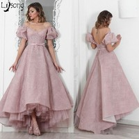 Dusty Pink Lace Female Puffy Sleeves Pleated High Low Formal Evening Dress Custom Made Vintage Royal Princess Floor Length Dress