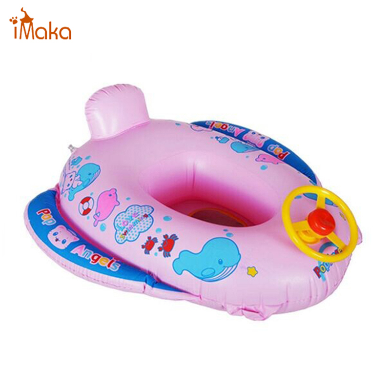 Funny Kids Baby Inflatable Swimming Pool Ring Cartoon Baby Swim Seat With Wheel Horn Float Boat