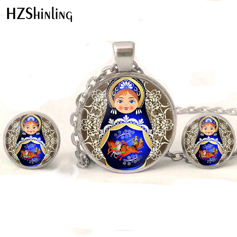 NR-004 Tradition Russian Doll Jewelry set Matryoshka Necklaces Handmade Russian Dolls Glass Cabochon Stud Earrings Wholesale