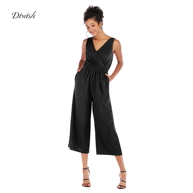 Diwish Fashion Women Bodysuit Sleeveless V-Neck Sexy Bodysuit Chiffon Jumpsuits for Women 2019 New Black Romper Solid Overalls