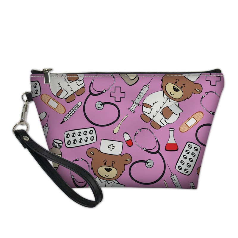NOISYDESIGNS Cute Cartoon Nurse Bear Printing Women Cosmetic Bag For Make Up Travel Organizer For Cosmetics Makeup Pouch Leather