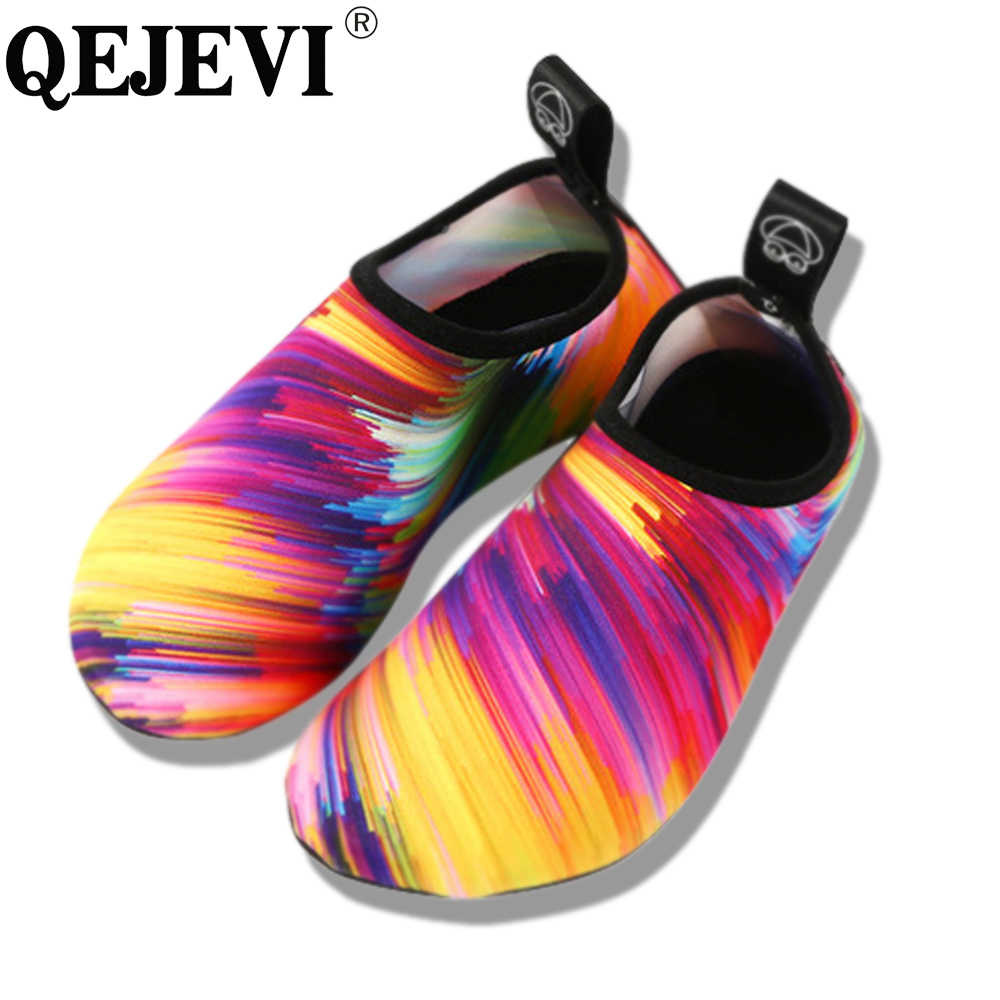 c110dfb09d6a 2018 QEJEVI Women Water Shoes Men Barefoot Wet Beach Shoes Outdoor Swimming  Footwear Adult Aqua Flat