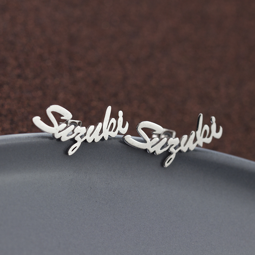 Customized fashion earrings engraved jewellery