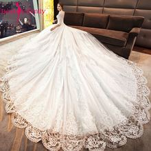 Beauty Emily Ivory Lace Up Sexy Ball Gown Wedding Dresses 2019 Formal Bridal Vestido De Novia Luxury Beads Dress